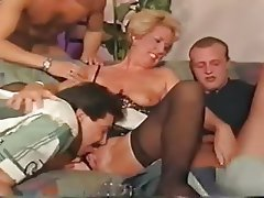 Double Penetration, German, Group Sex, Old and Young, Stockings
