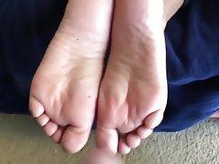 Amateur, Cumshot, Foot Fetish, Footjob, Wife