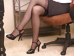 Masturbation, Brunette, Mature, Pantyhose