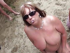 Beach, Blowjob, Bukkake, Cumshot